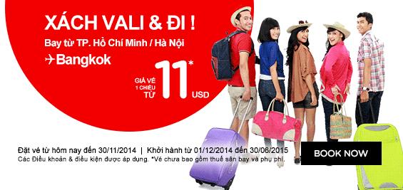 Air Asia Bán Vé Máy Bay đi Bangkok 11 USD