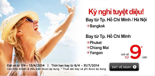 Air Asia Tung Vé Cực Rẻ đến Bangkok 9 USD