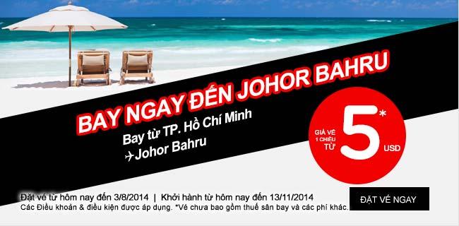 Air Asia Tung Vé đi Johor Bahru Chỉ 5 USD