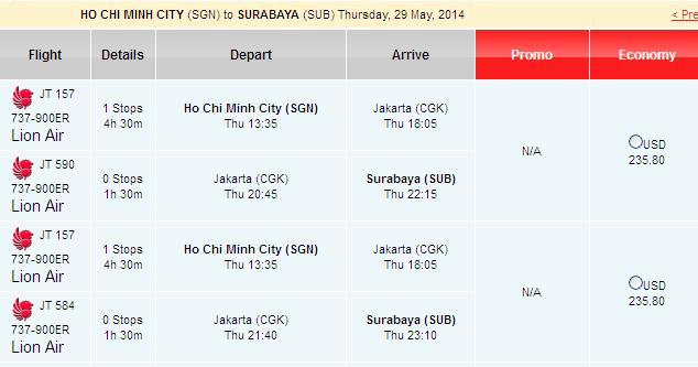 Bay Ngay đến Surabaya Chỉ Với 235 USD