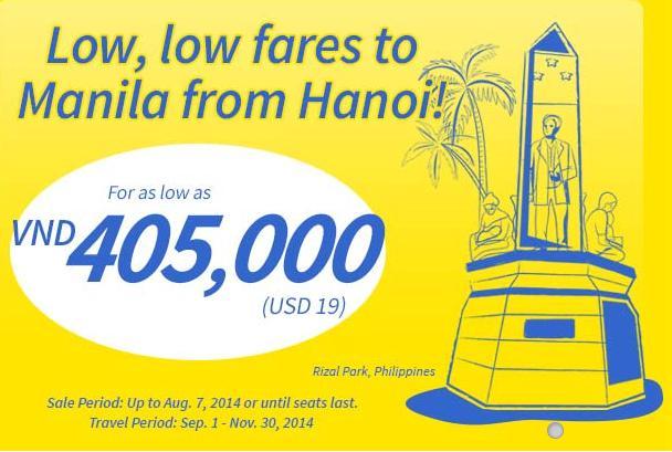 Cebu tung vé Hà Nội đi Manila chỉ 19 USD