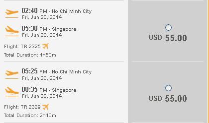 Đặt Mua Vé đi Singapore Của Tiger Air 55 USD