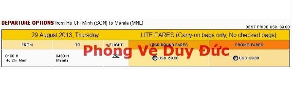 Giá Vé Máy Bay đi Manila
