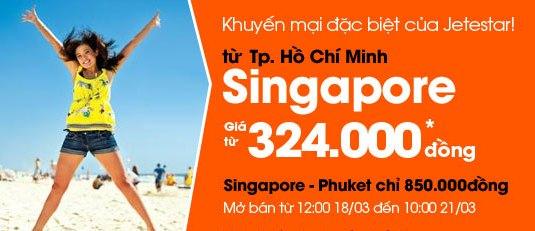 Vé Máy Bay đi Singapore Của Jetstar Chỉ 324.000VNĐ