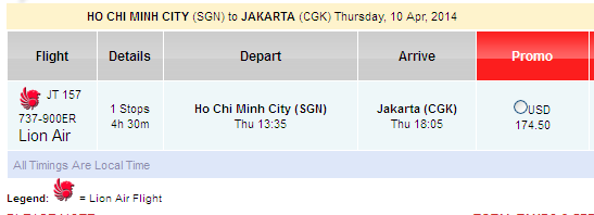Lion Air Bán Rải Rác Vé đi Jakarta 174 USD