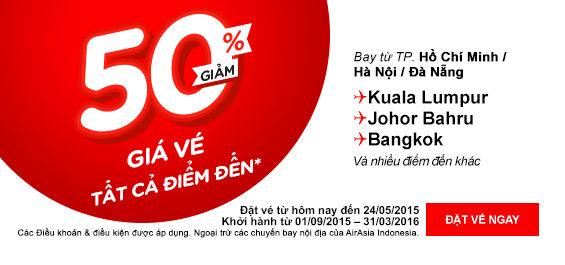 Air Asia Khuyến Mãi Toàn Chặng Bay Giảm 50% Giá Vé