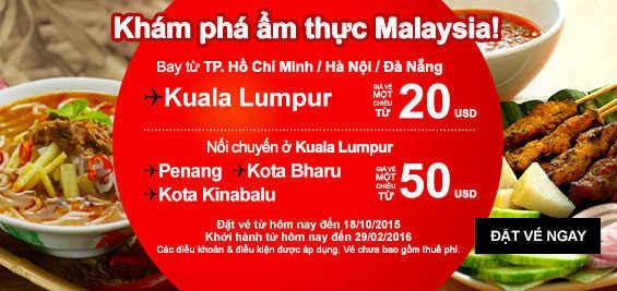 Air Asia Bán Vé Máy Bay đi Kuala Lumpur 20 USD