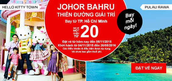 Đổi điểm Du Lịch Mới đến Johor Bahru Chỉ 20 USD