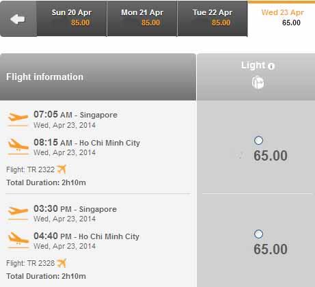 Mua Vé Singapore Ngược Về Sài Gòn Rẻ 65 USD