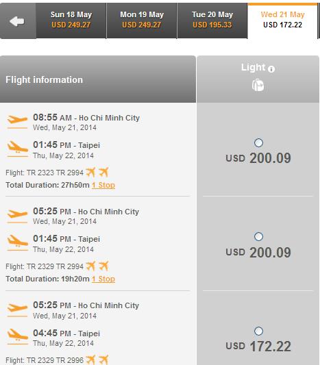 Tiger Air bán rải rác vé máy bay Đài Bắc 172 USD