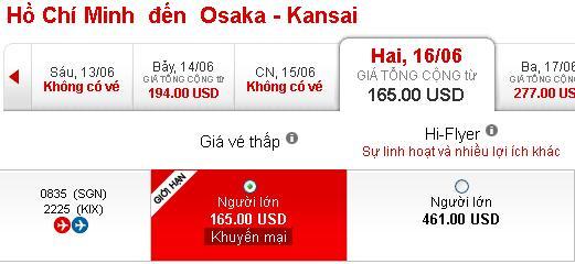 Vé Máy Bay Giá Rẻ Osaka 165 USD