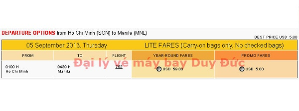 Vé máy bay khuyến mãi đến Manila